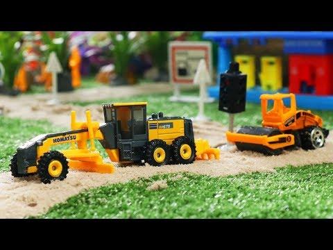 Membangun Jalan   Kendaraan Konstruksi Mainan   Grader, Excavator, Bulldozer, Truck, Road Roller Toy