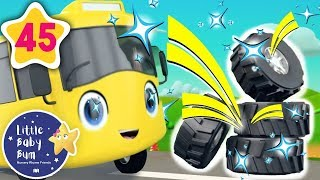 Buster's New Tires! | +More Vehicle Songs | Nursery Rhymes | Little Baby Bum