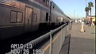 Metrolink and Amtrak at Glendale, CA depot November 1993