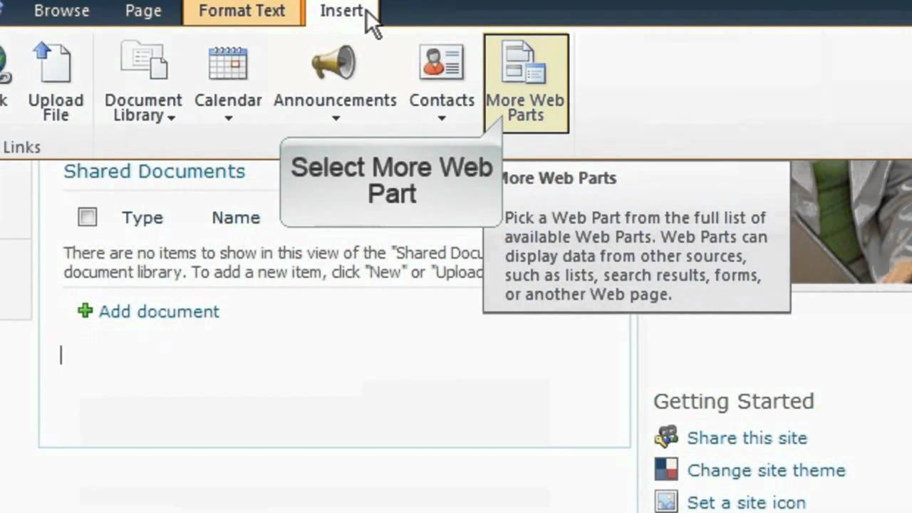 microsoftonline365 Microsoft Online 365 SharePoint Online - Adding a Web Part - YouTube