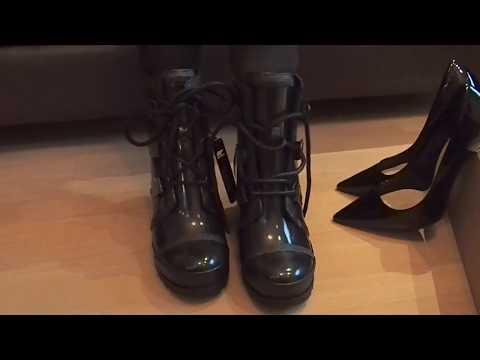 8dd5a227ddbc Sorel Joan Rain Wedge Gloss schwarz auspacken