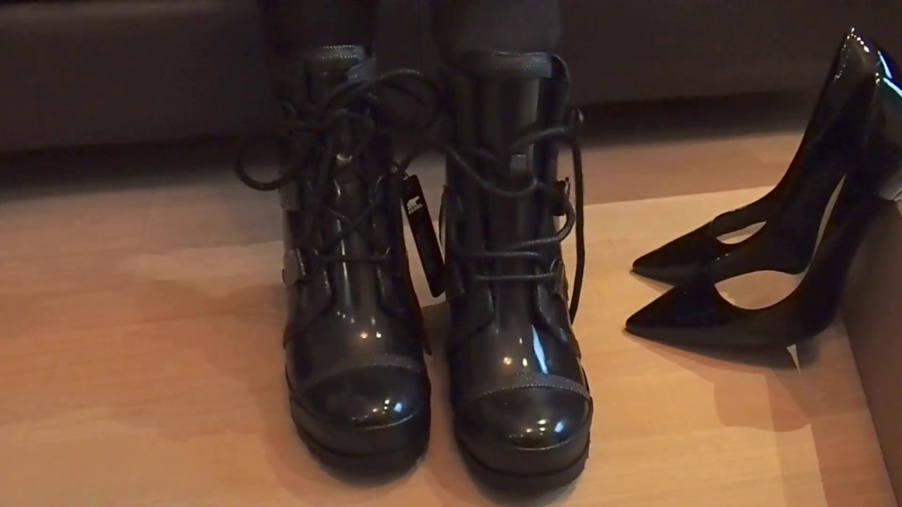0798611bc21 Sorel Joan Rain Wedge Gloss schwarz auspacken. Hunter Boots