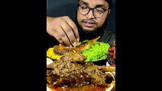 Mutton Leg Piece, Fish fry, gree rice eating #shorts