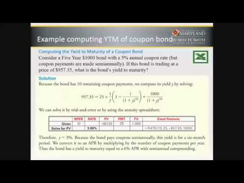 Bonds - YTM and YTC - calculation of Yield to Maturity and Yield to Call