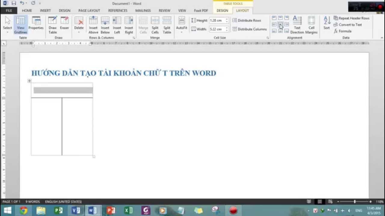 Hướng dẫn tạo tài khoản chữ T trên Word 2013