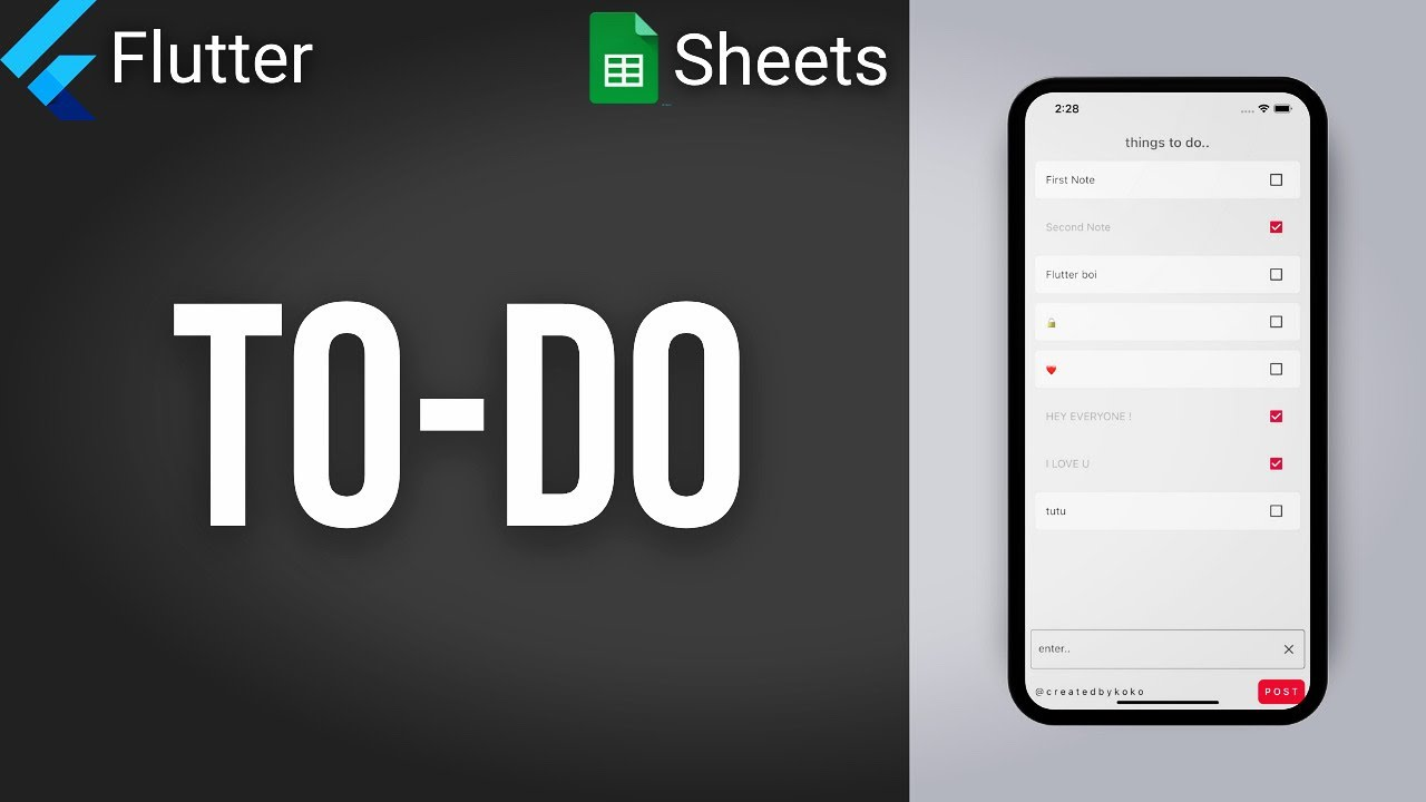 How to Code TO DO App with Backend • Flutter & Google Sheets
