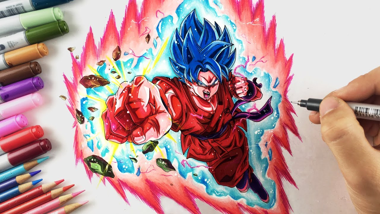 Drawing Goku Super Saiyan Blue Kaioken X10