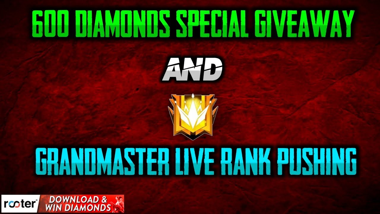 💎600 Diamonds Giveaway Come And Win The Giveaway| Download The Rooter App|Grandmaster Live Rank Pus
