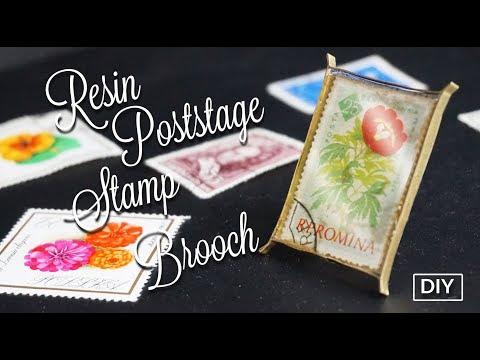 How to make Resin Poststage Stamp brooch