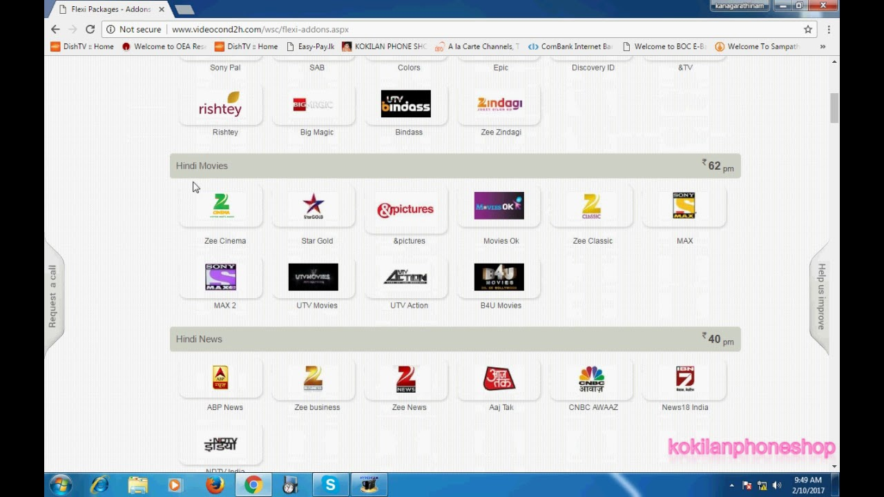 videocon d2h package and channel list