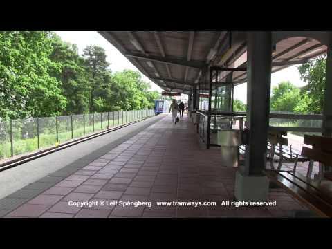 SL Tunnelbana tåg / Metro trains at Hammarbyhöjden station, Stockholm, Sweden