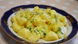 картофель по деревенски, в домашней сметане с чесноком