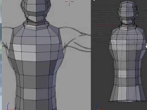 blender 3d tutorial head model add torso and arms 3b
