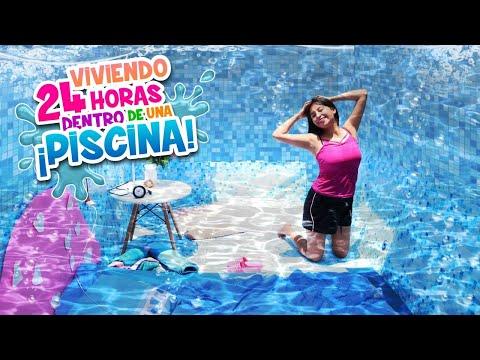 VIVIENDO 24 Horas ADENTRO De LA ALBERCA☀️💦 Me Baño,  Desayuno Y Hago Tik Toks | Conny Merlin