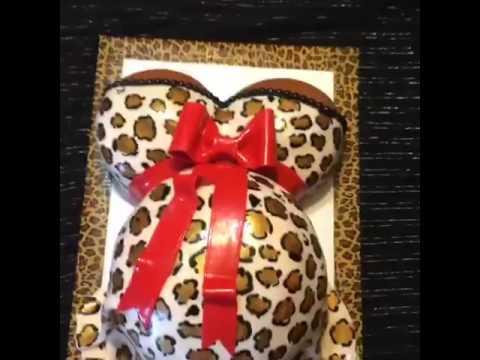 cheetah print mothers tummy baby shower cake
