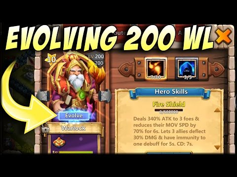 Castle Clash: Lucky Flipping + Evolving Level 200 Warlock
