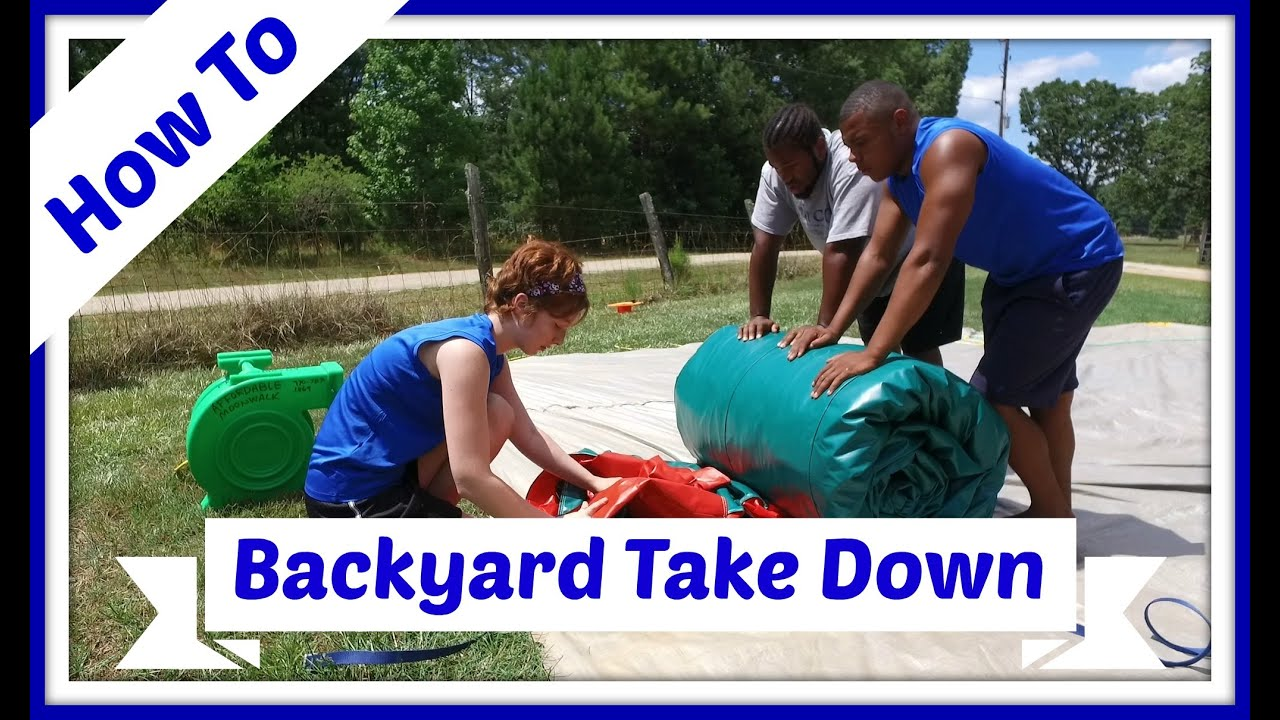 how to take down our inflatable backyard water slide youtube
