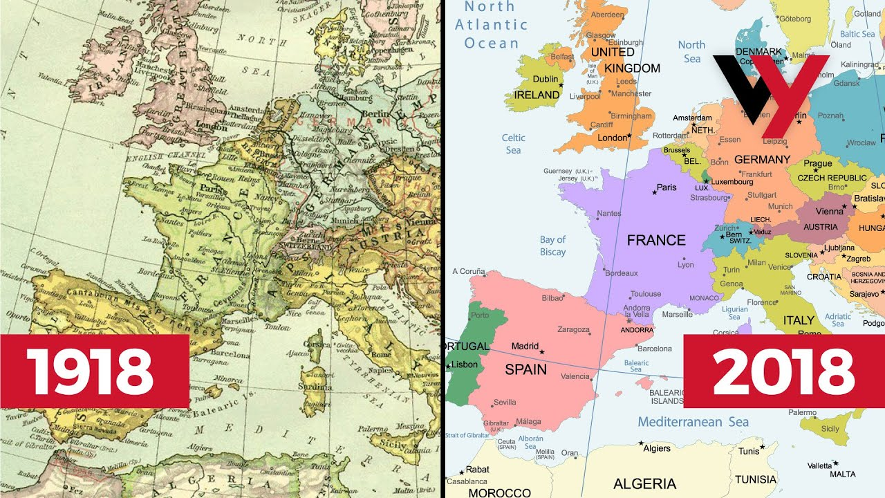 How The World Map Has Changed In 100 Years Since Wwi Youtube