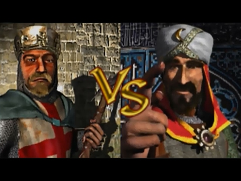 Richard vs Saladin - Stronghold Crusader KI Kämpfe (German)