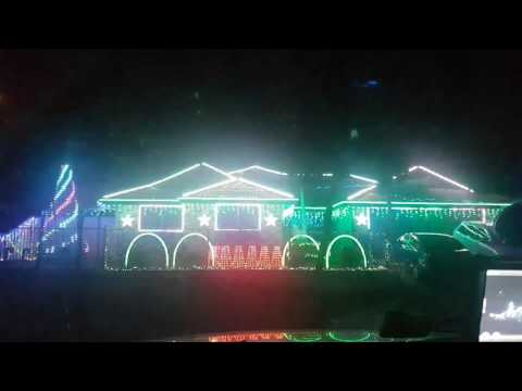 Christmas lights dance to radio. Crestmead, Queensland, Australia.