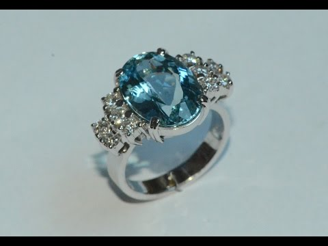 Aquamarine and diamonds 18k white gold ring handmade
