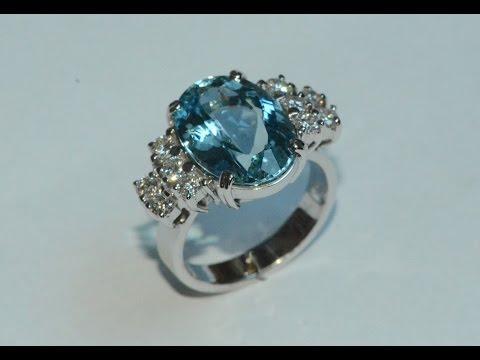 Aquamarine and diamonds 18k white gold ring handmade