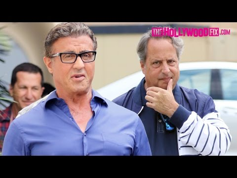 Sylvester Stallone Runs Into Jon Lovitz While Greeting Fans After Lunch In Beverly Hills 5.7.16