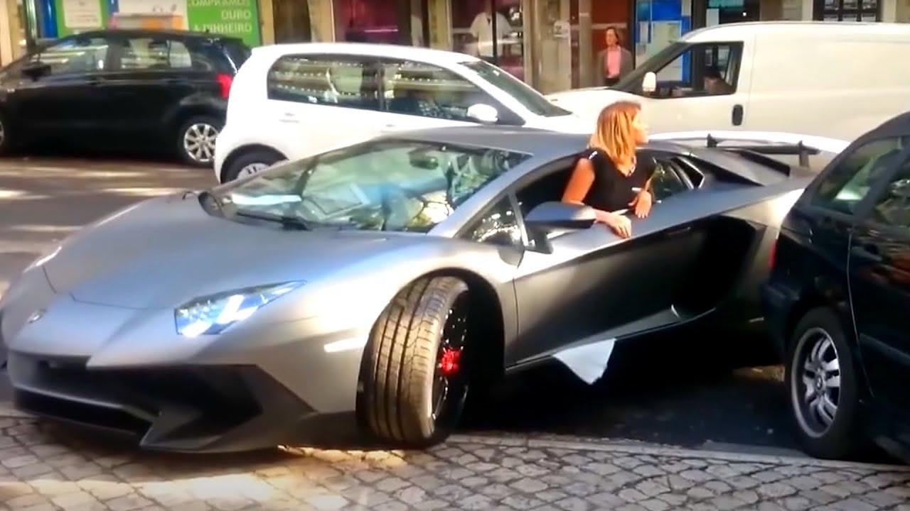 Girl Driving Skills Lamborghini Aventador Vs Truck Tir