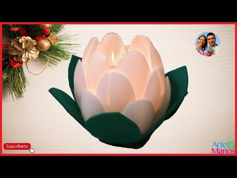 Farol porta velas Flor de Loto, paso a paso con material reciclado