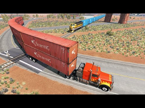 Long Giant Truck Accidents on Railway and Train is Coming #13 | BeamNG Drive |