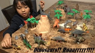 Prehistoric Dinosaur Toys: 20 Dinosaurs in a Plastic Container Unboxing & Playtime Fun!