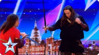 DANGER: Laura & Rich's sword-fighting audition! | Auditions Week 1 | Britain's Got Talent 2018
