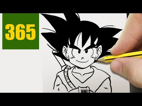 HOW TO DRAW A GOKU CUTE, Easy step by step drawing lessons for kids