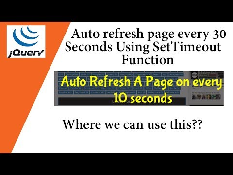 Auto refresh page every 30 seconds Using SetTimeout Function