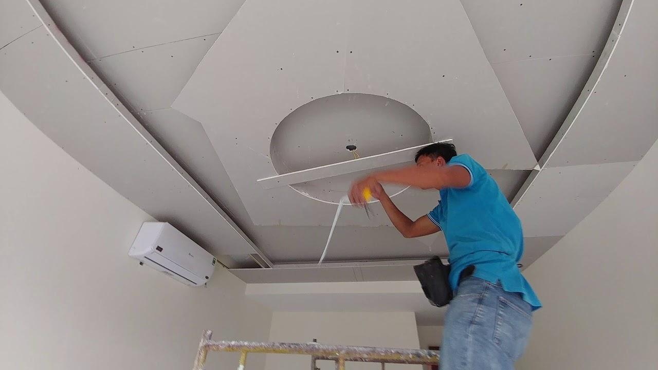 Thi công trần thạch cao cho phòng khách căn hộ chung cư đẹp nhất 0938 922 171