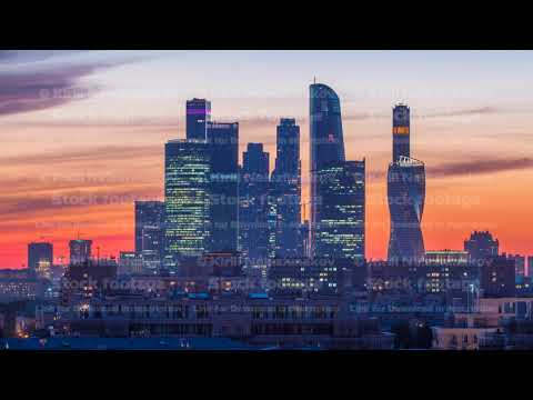 Moscow International Business Center and Moscow urban skyline after sunset day to night timelapse