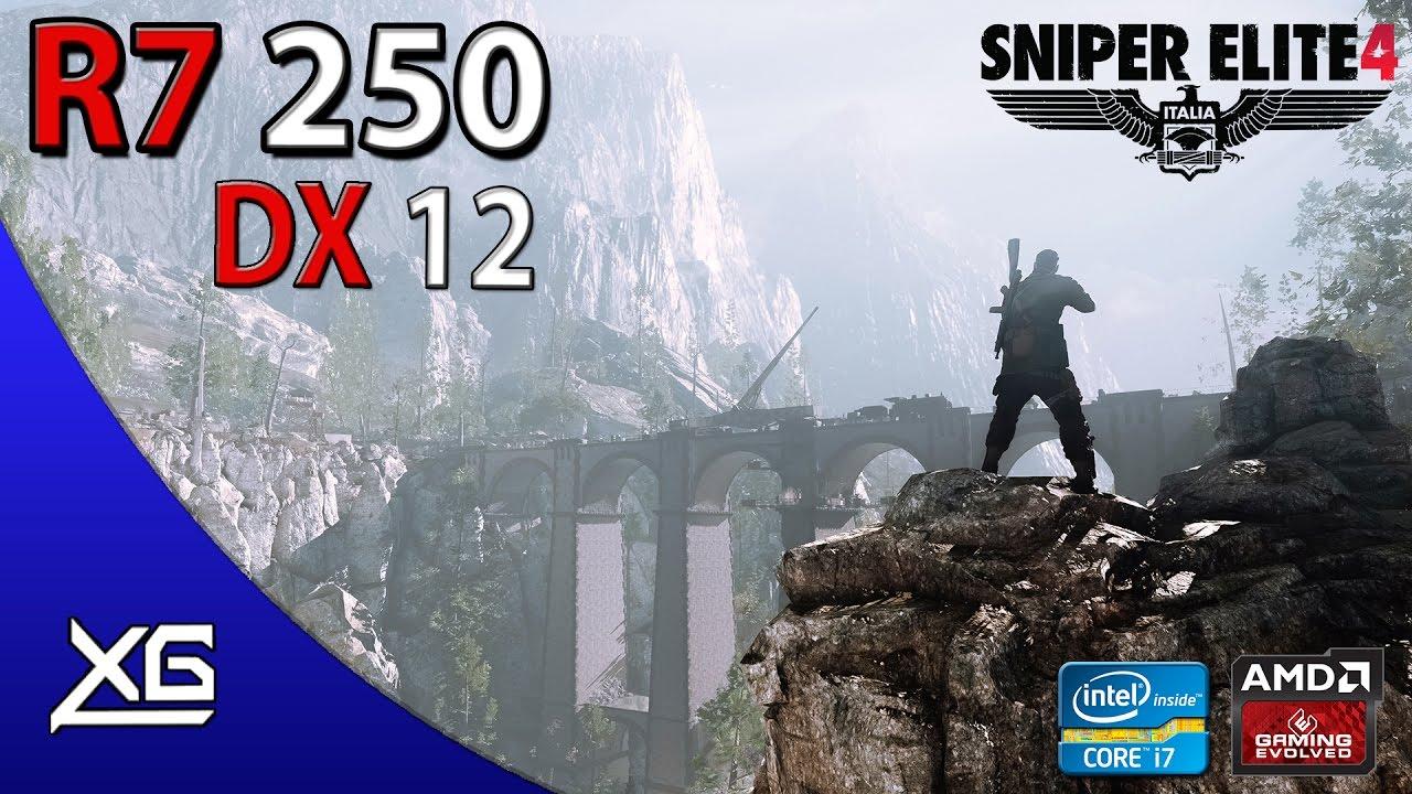 Sniper Elite 4 Graphics | R7 250 2GB DDR3 | 768p | MIX | DX12 | FPS - TEST