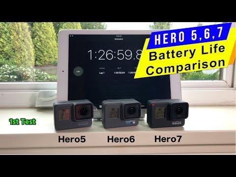 GoPro Hero7, Hero6, Hero5 Battery life Comparison  gopro