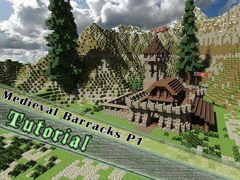 Minecraft Tutorial How To Build A Medieval Barrack Part 1 2