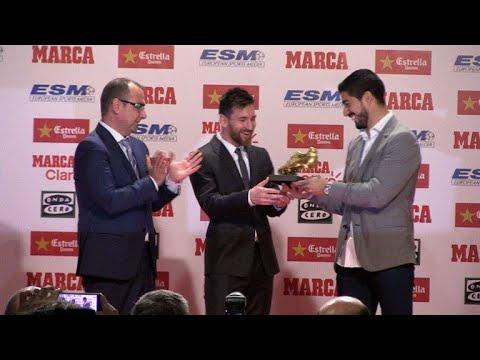Messi recebe quarta Chuteira de Ouro de artilheiro da Europa - YouTube 9ab053fbf677b