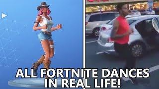 ALL *NEW* FORTNITE DANCES IN REAL LIFE! (Running Man, Flamenco & More!)