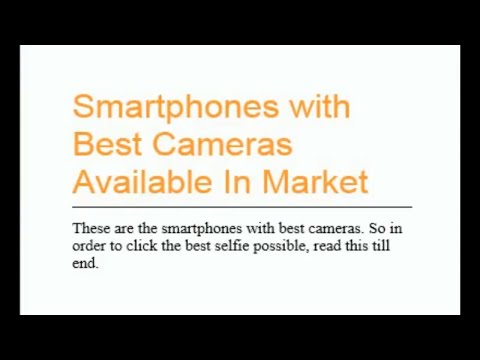 BEST SMARTPHONE CAMERA AVAILABLE IN MARKET