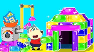 Baby Wolf Builds Colorful Jelly Playhouse With Jelly Making Machine | Wolfoo Channel