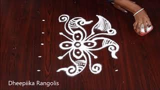 very easy peacock muggulu with 5x5 dots * easy daily kolam design * simple rangoli design