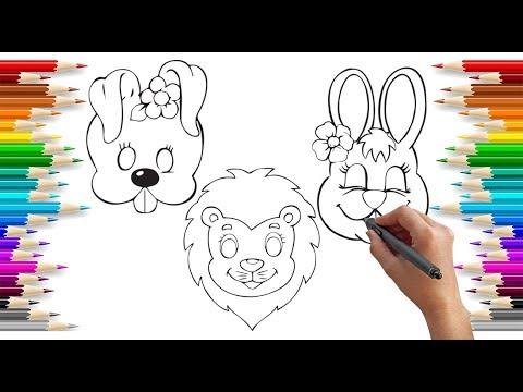 Simli Hayvan Maske Boyama Glitter Animal Mask Painting Glitter