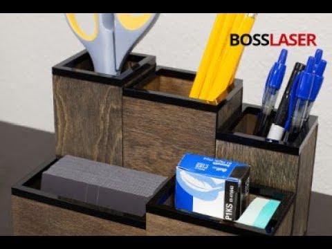 Laser Cut Wood Acrylic Desktop Organizer Free File