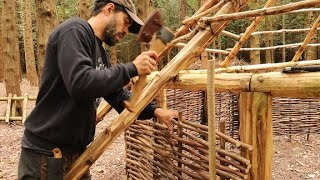 Building A Roundhouse with TA Outdoors - Friction fire - Hazel Hurdle Walls - Bushcraft Project Ep.6