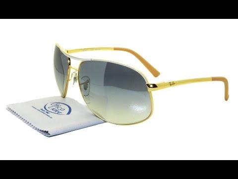 Óculos de Sol Ray-Ban Aviador Dourado Azul Degradê 3387l 077 7b 64 ... d6d63757bb