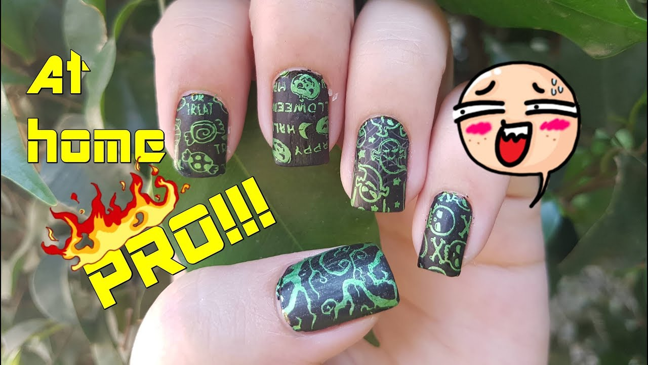 Easiest Halloween Nail Art Stamping Tutorial 2017 - YouTube