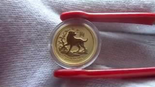 Золотая монета год Собаки.  Лунар 2.